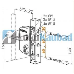 Jalgvärava lukk LOCINOX LAKQ H2  (Must, RAL9005)