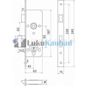 PVC / Profiilukse lukukorpus KFV 49PZ W 92 45/16, PZ