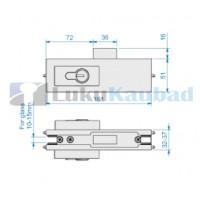 ROCA klaasukse lukk RG-224 EURO (harjatud roostevaba AISI304)
