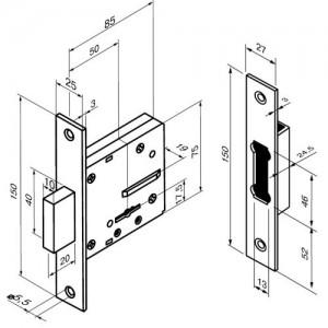 Turvaluku komplekt 428 CR (5 võtmega)